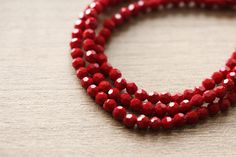 50 pcs of Electroplate Opaque Glass Faceted Plated Deep Red Round Glass - 3 mm