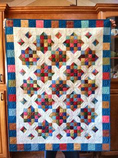 """Goodnight Irene"" quilt along in November of last year, perfect to use up leftover squares.  2 in squares This pattern is also known as Arkansas Crossro..."