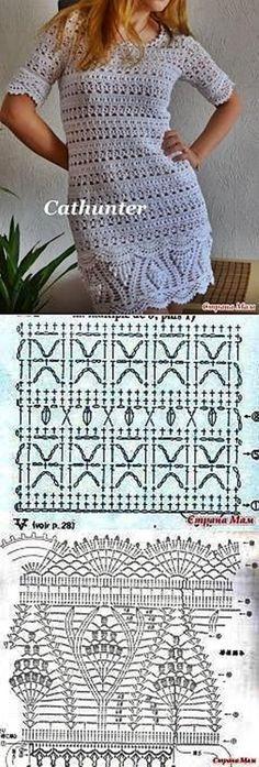Captivating Crochet a Bodycon Dress Top Ideas. Dazzling Crochet a Bodycon Dress Top Ideas. Crochet Skirts, Crochet Tunic, Crochet Clothes, Crochet Lace, Beau Crochet, Pull Crochet, Mode Crochet, Crochet Diagram, Crochet Chart