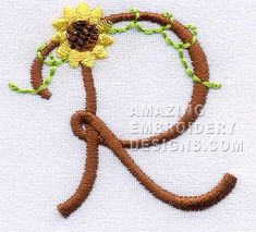 Amazing Embroidery Designs  floral letter R