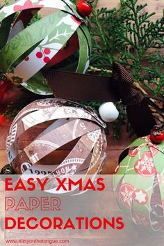 Make easy paper ball decorations with the family for the Christmas tree.  Full…