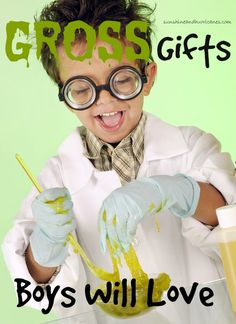 Searching for gifts that boys will love? How about combining some science & education with the next present you give? Great list of ideas that boys will love, they'll provide tons of laughs and keep the FUN in gift giving this holiday season! Birthdays or any occasion, you can't go wrong with these fabulous finds!Gross Gifts Boys Will Love