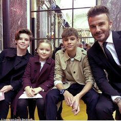 Fashion family:David looked incredibly dapper in a tailored black suit as he led his and Victoria's brood to her highly-awaited AW18 show at Burden Mansion