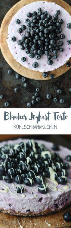 Blaubeer Joghurt Torte - Kühlschrankkuchen ohne Backen - leckeres Rezept #blaubeeren #rezepte #ohnebacken Cupcakes, No Bake Cake, Food Inspiration, Acai Bowl, Cereal, Pudding, Sweets, Baking, Breakfast
