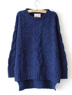 Cabled Sweater in Blue