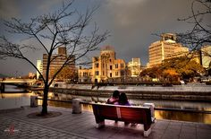 A Nomadic Spirit Travelogue Entry: In which Patrick contemplates an atomic bomb explosion sitting on a park bench, beside the A-Bomb Dome, in Hiroshima. Atomic Bomb Explosion, Hiroshima, Travelogue, Asia, Bench, Spirit, Japan, River, Park