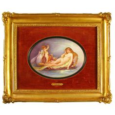 A rare 19th century French porcelain plaque. Beautifully hand painted, the portrait depicts Cupid and Venus. Portraying Cupid (Eros) at the helm of a