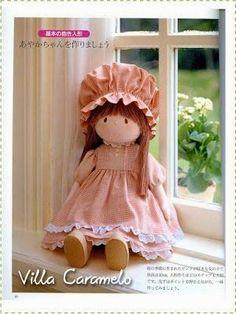 Tutorial boneca Ondori - - by Vila Caramelo. Doll Clothes Patterns, Doll Patterns, Dress Patterns, Doll Toys, Baby Dolls, Dolls Dolls, Mini E, Doll Tutorial, Sewing Dolls