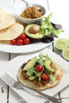 Chipotle Lentil Tostadas (onion, poblano ppr, garlic, chili powder, cumin, chipotle chili powder, oregano, lentils, broth, cilantro, corn tortillas, garnish)