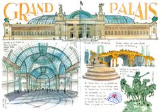 Joaquin Gonzalez Dorao - Grand Palais Travel Sketchbook, Watercolor Sketchbook, Sketchbook Pages, Travel Journal Pages, Illustrations, French Art, Travel Posters, Taj Mahal, Sketches