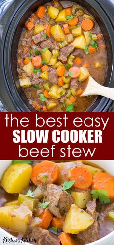- Best Easy Slow Cooker Beef Stew, with tender meat and vegetables in a rich broth. This classic beef stew recipe is perfect for a weeknight or Sunday dinner. One of our favorite easy crock pot recipes! - Best Easy Slow Cooker Beef Stew, w Classic Beef Stew, Beef Bourguignon, Easy Beef Stew, Homemade Beef Stew, Stew Meat Recipes, Crockpot Beef Stew Recipe, Crock Pot Stew, Crock Pots, Slowcooker Beef Stew
