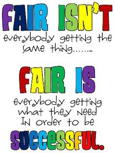 "Fair is Not Equal from @Matt Nickles Valk Chuah Minimalist Mom - good way of explaining ""fair"""