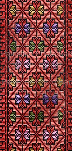 Close Ups of Palestinian Traditional Costumes Crewel Embroidery, Vintage Embroidery, Cross Stitch Embroidery, Embroidery Patterns, Sewing Patterns, Cross Stitch Borders, Cross Stitch Flowers, Cross Stitching, Palestine
