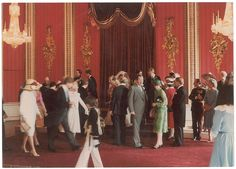 The royal family and other dignitaries gather for the fromal photographs. Visible royals from left to right, Mark Philips (was married to Princess Anne), Prince Andrew, Princess Diana, Prince Charles, Earl Spencer, Duke and Duchess of York and Diana's sister, Baroness Fellows in green dress in front.