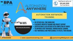 Want to #Learn #Automation #Anywhere Join us We are Providing the best service  :) If you want to #Learn #rpa #blueprism #AUtomation #Anywhere #Openspan #ui #path visit us  Flat no: 312, 3rd Floor, NILGIRI Block, Aditya Enclave, Ameerpet, Hyderabad-16 +91-9704455959,9618245689 rpatraining999@gmail.com