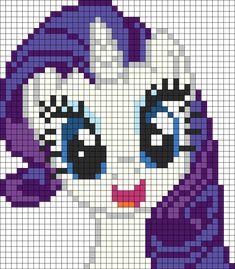 My Little Pony Pony Bead Patterns Kandi Patterns, Pearler Bead Patterns, Perler Patterns, Beading Patterns, Art Patterns, Bracelet Patterns, Beaded Cross Stitch, Cross Stitch Patterns, Rarity My Little Pony