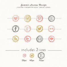 INSTANT DOWNLOAD  Type Writer Keys Social Icons by summitavenue, $6.00