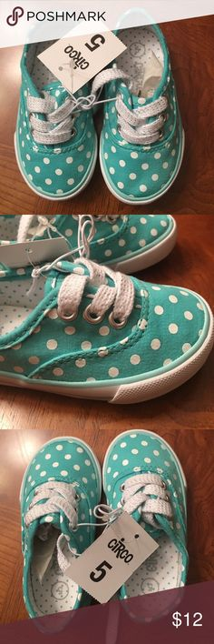 NWT- Circo Kathryn Mint With Polka-Dots Sneakers NWT- Toddler Circo Kathryn mint color with white polka-dots sneakers. Lace-up design. Rubber sole. Cushioned footbed. Size 5. Excellent condition Circo Shoes Sneakers