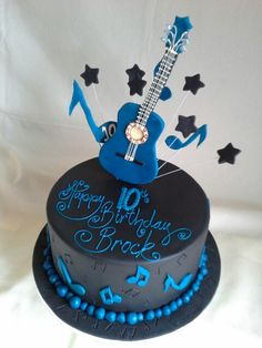 #guitar music themed #birthday #cake all edible, well except wires...lol