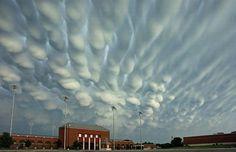 Mammatus Clouds, or wax drip clouds, Hastings, Nebraska.