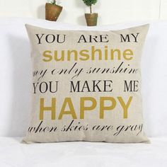 Modern Square Letter Pattern Linen Decorative Pillowcase (Without Pillow Inner) // My dad sang this to my mom everyday of their lives together. <3