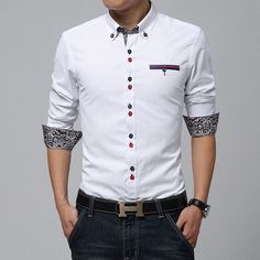 Contemporary Double-buttoned Paisley Dress Shirt – U R B A N S T O X
