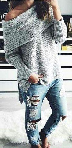 #winter #fashion / Grey Off Shoulder Knit + Destroyed Denim Jeans