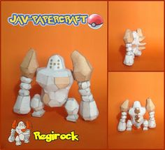 This pokemon papercraft is Regirock, a Rock-type Legendary Pokémon, based on the anime / game Pokemon, the paper model was created by javierini. Regirock i 3d Paper Crafts, Paper Toys, Paper Art, Z Craft, Crafty Craft, Papercraft Pokemon, Papercraft Download, Craft Corner, Paper Models