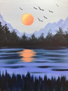 Join us at Pinot's Palette - Ellicott City on Sat Aug 2015 for Cool Summer Night. Seats are limited, reserve yours today! Easy Nature Paintings, Easy Landscape Paintings, Watercolor Paintings For Beginners, Landscape Art, Kunst Inspo, Art Inspo, City Painting, Mountain Paintings, Sky Art