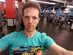 Trying really hard to look tough at the gym