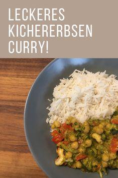 Leckeres Kichererbsen Curry mit viel Gemüse. Probiere jetzt dieses köstliche Curry Rezept aus! Kitchen Queen, Nom Nom, Spicy, Grains, Chickpea Curry, Turmeric, Curry Recipes, Side Dishes, Eat Lunch