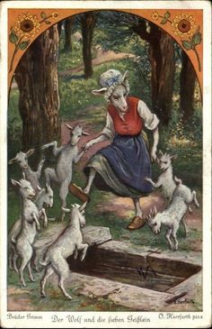 Brothers Grimm Fairy Tale 'WOLF & 7 LITTLE GOATS' Mother & Babies Play