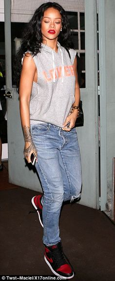 I'll have my usual please: No doubt the restaurant will know Rihanna's favourite dish, as ... http://dailym.ai/1r2CP2F#i-adc80e95