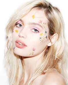 Spring muse model/musician Staz Lindes with fresh pastel flowers on her face using PaperSelf Pastel Palette by Jessica Man (temporary tattoos), with makeup and photography by Robin Black from Beauty is Boring!