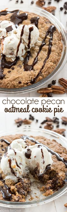 Chocolate Pecan Oatmeal Cookie Pie -- an easy oatmeal cookie filled with chocolate and pecans then baked in a pie plate. http://www.crazyforcrust.com/2015/05/chocolate-pecan-oatmeal-cookie-pie/