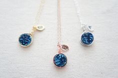 Wire Wrapped Blue Titanium Druzy Quartz necklace with a personalized leaf, rose gold, gold, silver, wedding, bridesmaid
