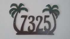Palm Tree House Number Address Sign , Wall decor, Metal Art - pinned by pin4etsy.com