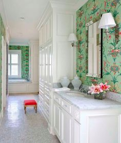 Classic white bathroom with mint green and pink wallpaper by Thibaut - Kevin Walsh for Bear-Hill Interiors