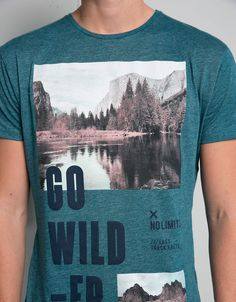 Shirt imprinted with 'go wild' - T- Shirts - Bershka Germany