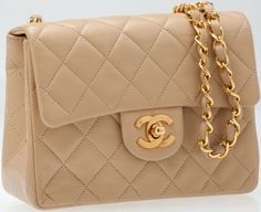 #Chanel Beige Lambskin Leather Classic Mini SingleFlap Bag with Gold Hardware. #heritageauctions
