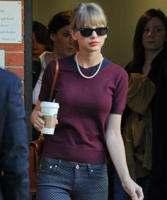 ladylike way to style polka dot jeans...thanks Taylor!