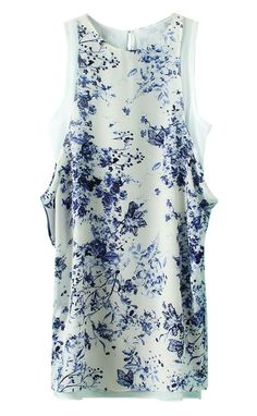 White Round Neck Sleeveless Floral Chiffon Dress