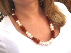 Baltic amber and pearl neckleace by Moonstoneamber on Etsy, $85.00