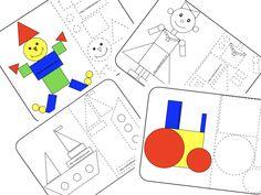 Forme. Coloreză, decupează și formează. Color și alb-negru. Math, Games, Blog, Math Resources, Blogging, Toys, Early Math, Game, Mathematics
