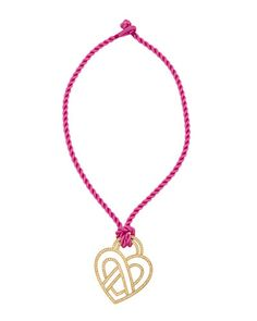 Wire Heart 18k Diamond Pendant Necklace on Pink Cord