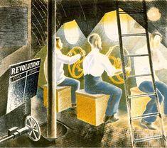 'Men Operating Submarine Controls (1941)' by Eric Ravilious
