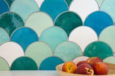 Large scale fish scale tiles Mercury Mosaics