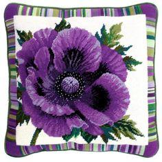 Purple Poppy needlepoint tapestry kit by Bothy Threads