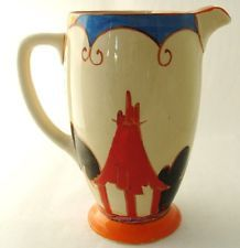 SUPERB ART DECO CLARICE CLIFF CORONET JUG PITCHER  IN SUMMERHOUSE PATTERN WOW !!