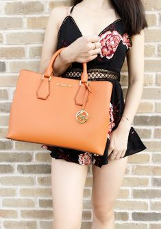 ad31257faed102 Michael Kors Camille Savannah Large Satchel Bag Tangerine Orange #top # Handbags #Poshmark #. Gaby's Bags